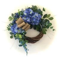 FRONT DOOR TWIG RING WREATH ARTIFICIAL FLOWERS BLUE HYDRANGEA WALL HOME DECOR